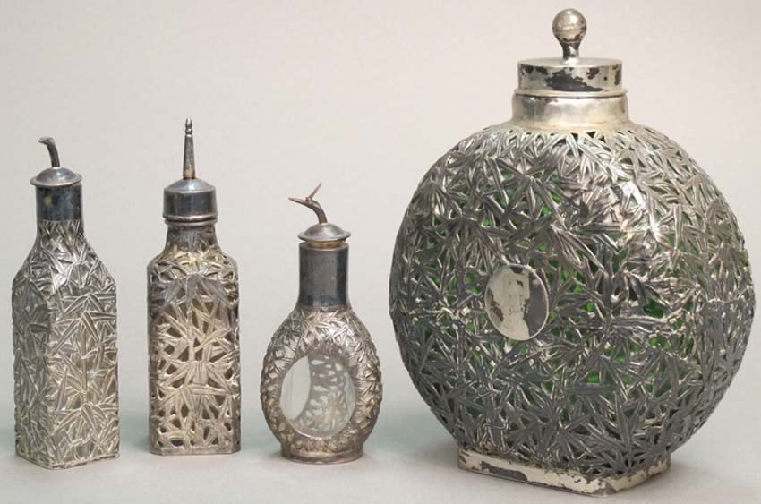 5: LOT OF (4) STERLING SILVER OVER GLASS BOTTLES height