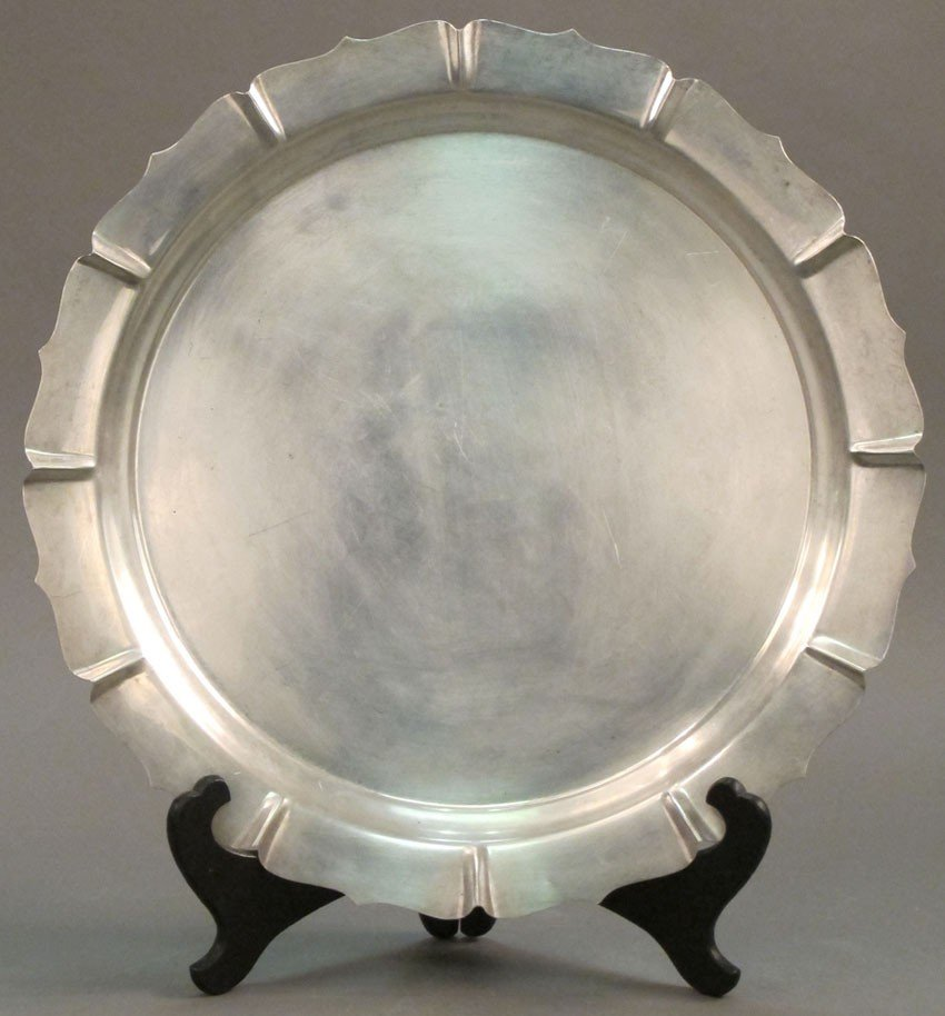 14: SHREVE & CO. STERLING SILVER TRAY weight: 45 troy o