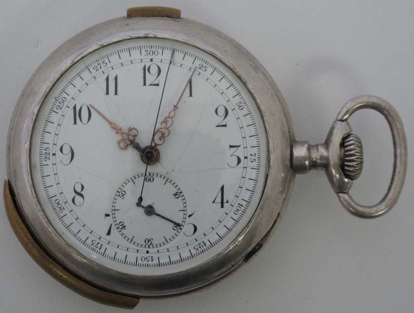 21: MID 19TH CENTURY SILVER REPEATER POCKET WATCH diame