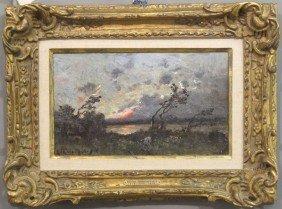 HENRI HARPIGNIES (1819-1916) O/B, Landscape Sight: