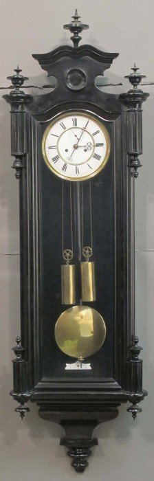 GERMAN WALNUT DOUBLE WEIGHT WALL CLOCK Length: 49""