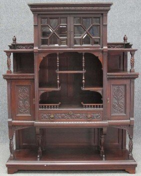 VICTORIAN MAHOGANY CURIO CABINET With Beveled Glass