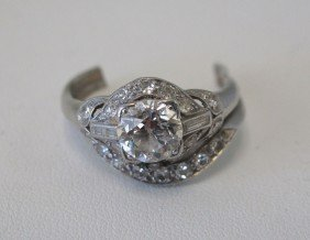 PLATINUM DIAMOND LADIES RING Approx. 1 CT. Weight N