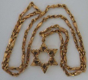 18KT STAR OF DAVID PENDANT With Chain Weight: 73 Gr