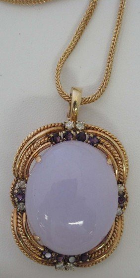 CHINESE LAVENDER JADE PENDANT WITH 14KT CHAIN Estim