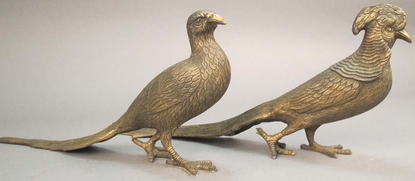 74: PAIR OF MEXICAN STERLING SILVER PHEASANTS weight: 1