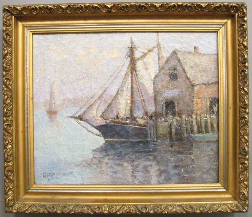 "81: GT. MARGESON, O/C Harbor Scene sight: 13 1/2""x 16 1"