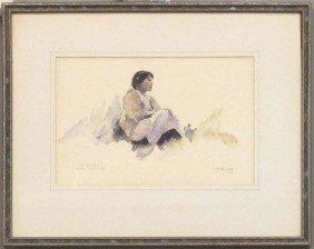 """THEODORE LAMBERT,(1905-1960) Watercolor, Sight: 7""""x"""