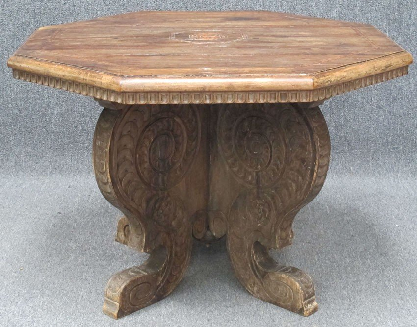 90A: ITALIAN CARVED WALNUT INLAID CENTER TABLE late 18t