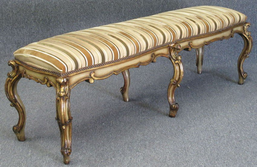 "91: VENETIAN STYLE CARVED BENCH length: 64"" width: 18"","