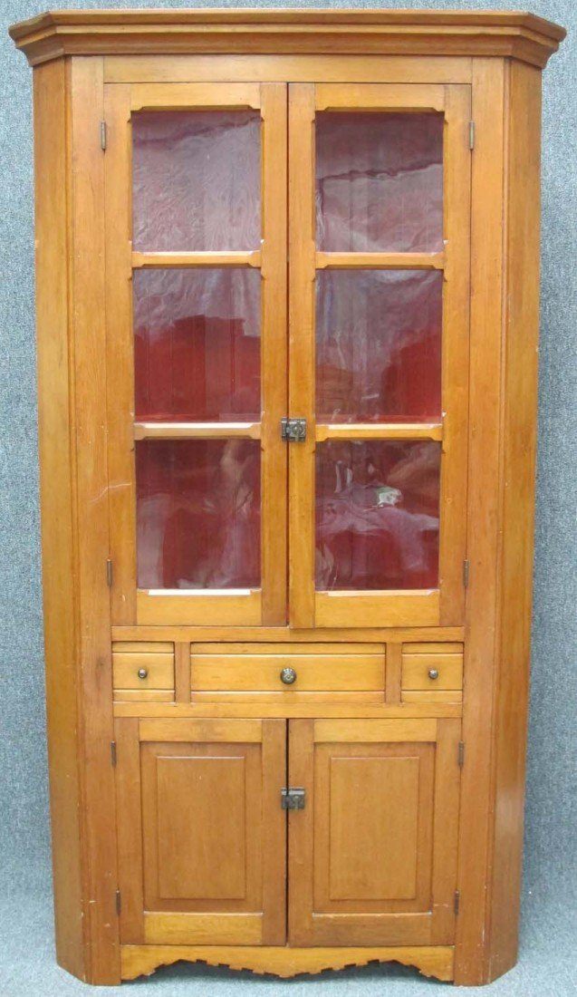 93: EARLY AMERICAN PINE GLASS FRONT CORNER CABINET heig