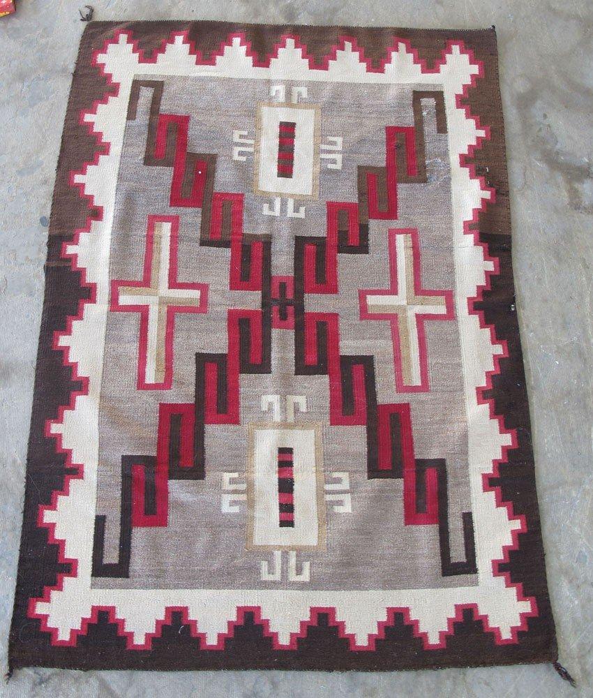108A: NATIVE AMERICAN NAVAJO BLANKET Design with Crosse
