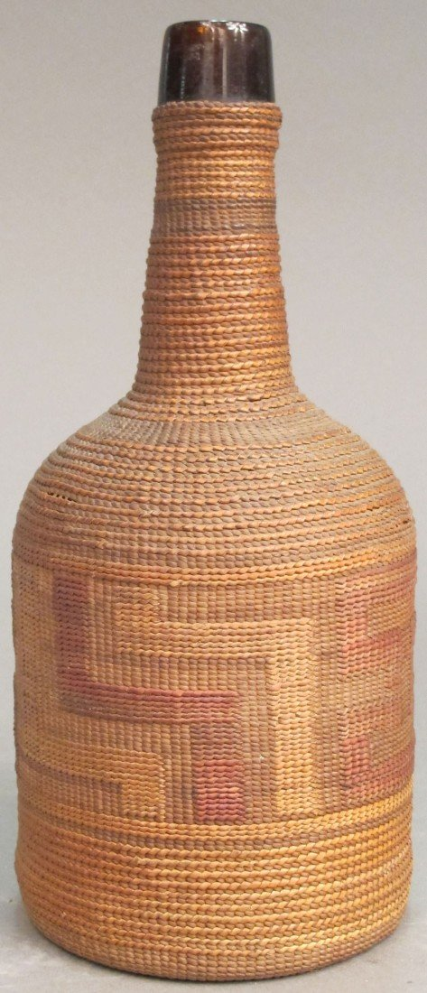 108E: TLINGIT, BASKET OVER BOTTLE late 19th/early 20th