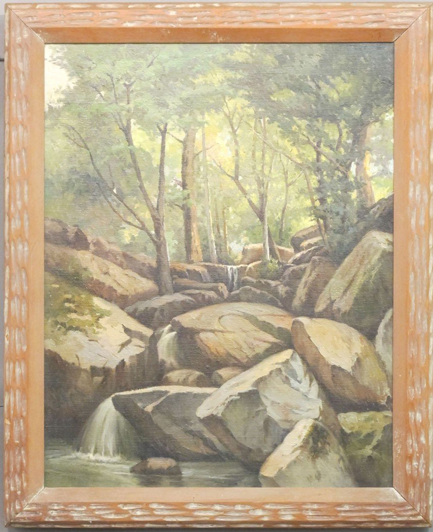 """109: WILLIAM HUBACEK, O/C with Forest Scene sight: 18""""x"""