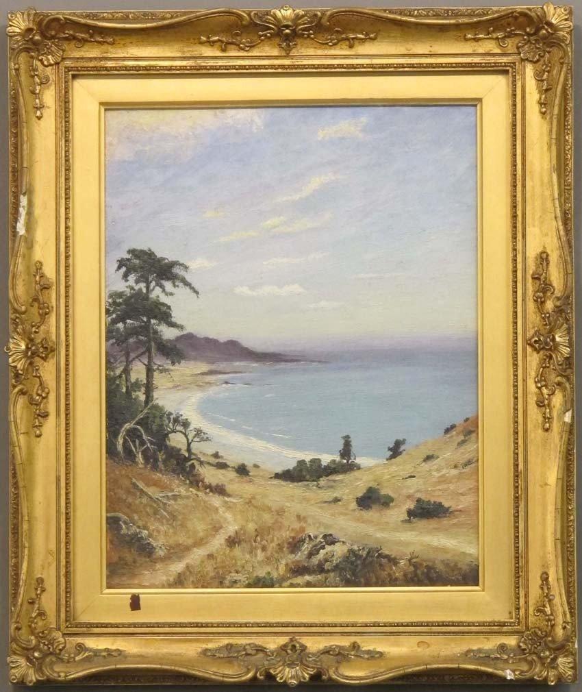 """110: O/B, Landscape of California Coast sight: 11 3/4""""x"""