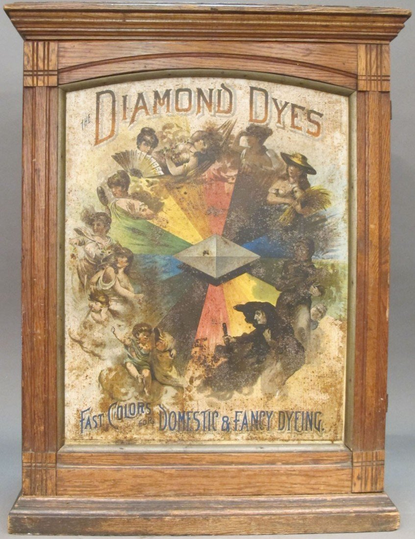 112: LATE 19TH CENTURY DIAMOND DYES ADVERTISING CABINET