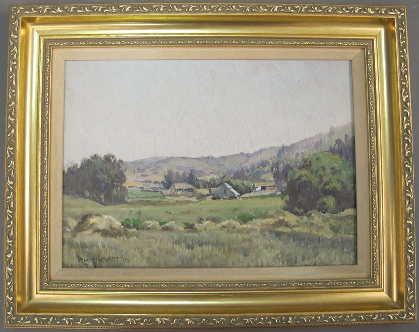 114: WILLIAM HUBACEK (1871-1958) O/B- Landscape of Ranc