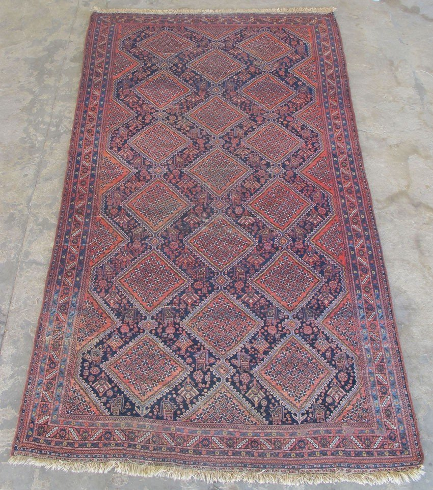 "351: TRIBAL WOOL CARPET size: 70""x 115"" estimate 500-70"