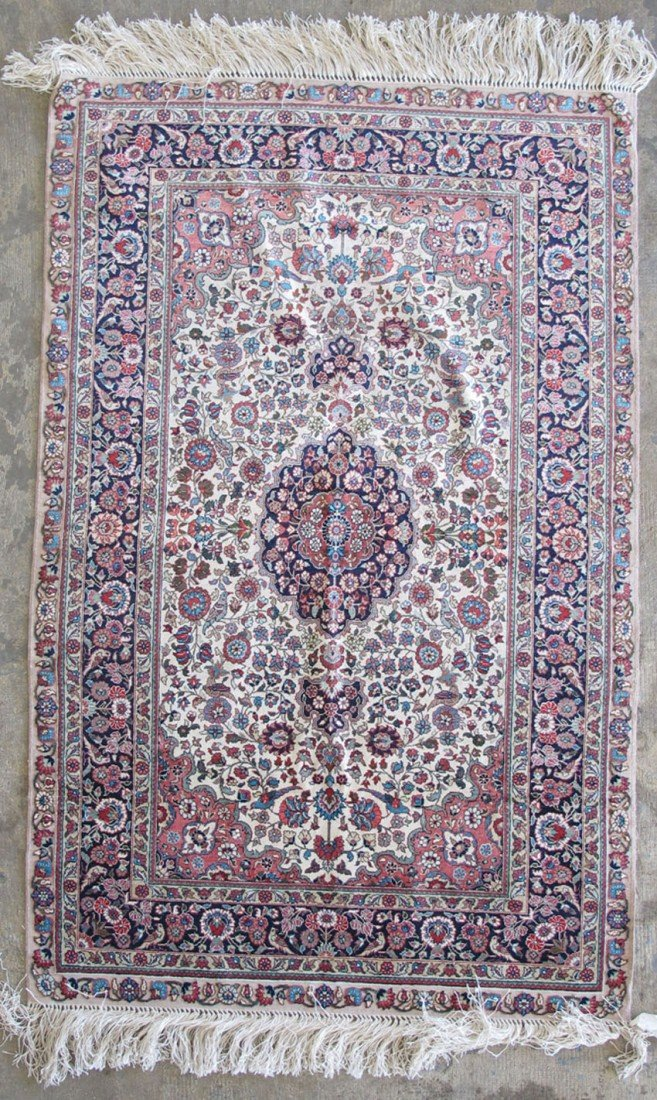 "355: KASHAN SILK/WOOL CARPET size: 31""x 48"" estimate 40"