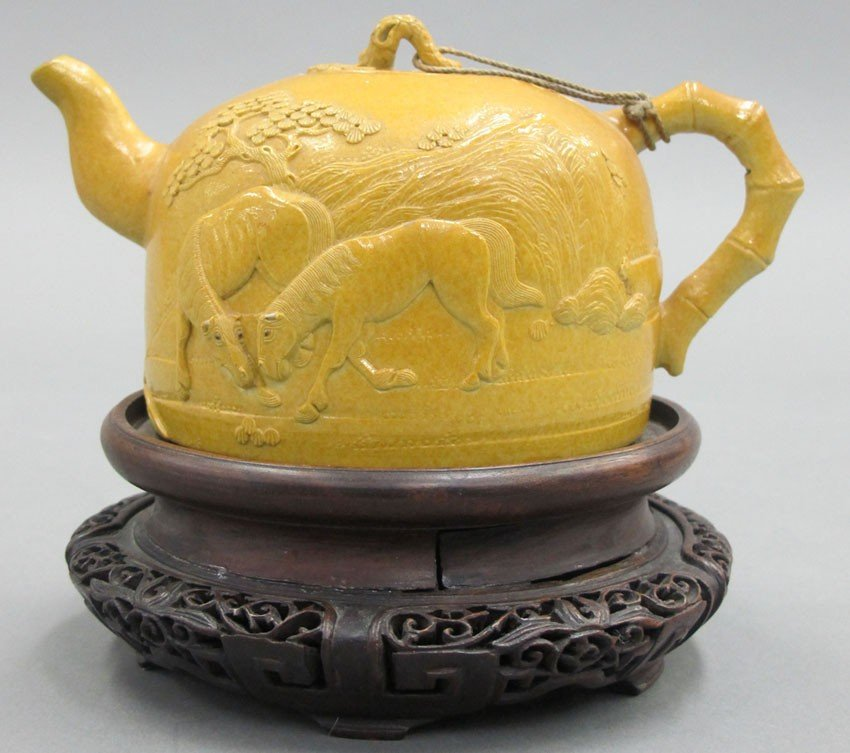 CHINESE CARVED MUSTARD YELLOW TEAPOT circa 19th