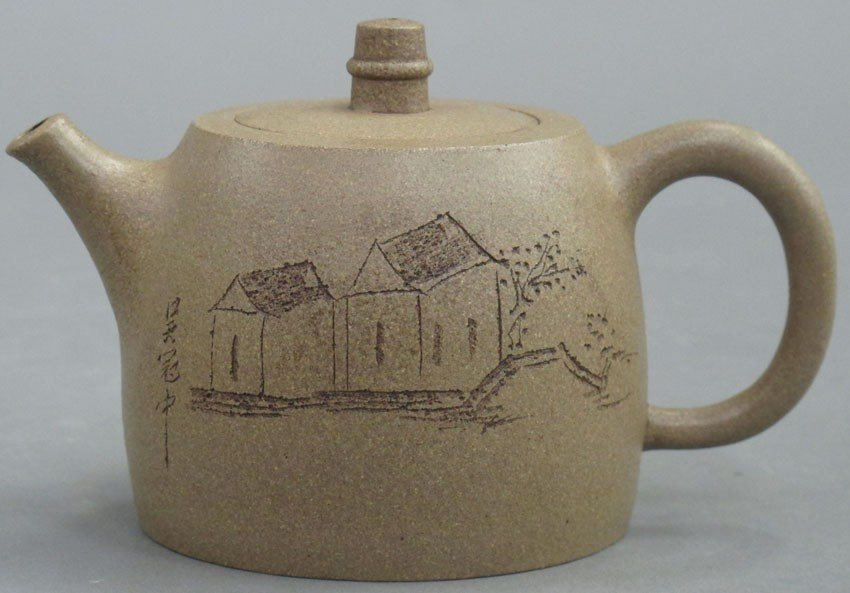 CHINESE CLAY TEAPOT stamped by Gu Jingzhou heig