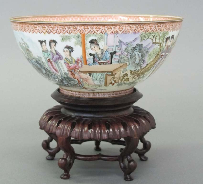 CHINESE EGGSHELL PAINTED PORCELAIN BOWL on stan