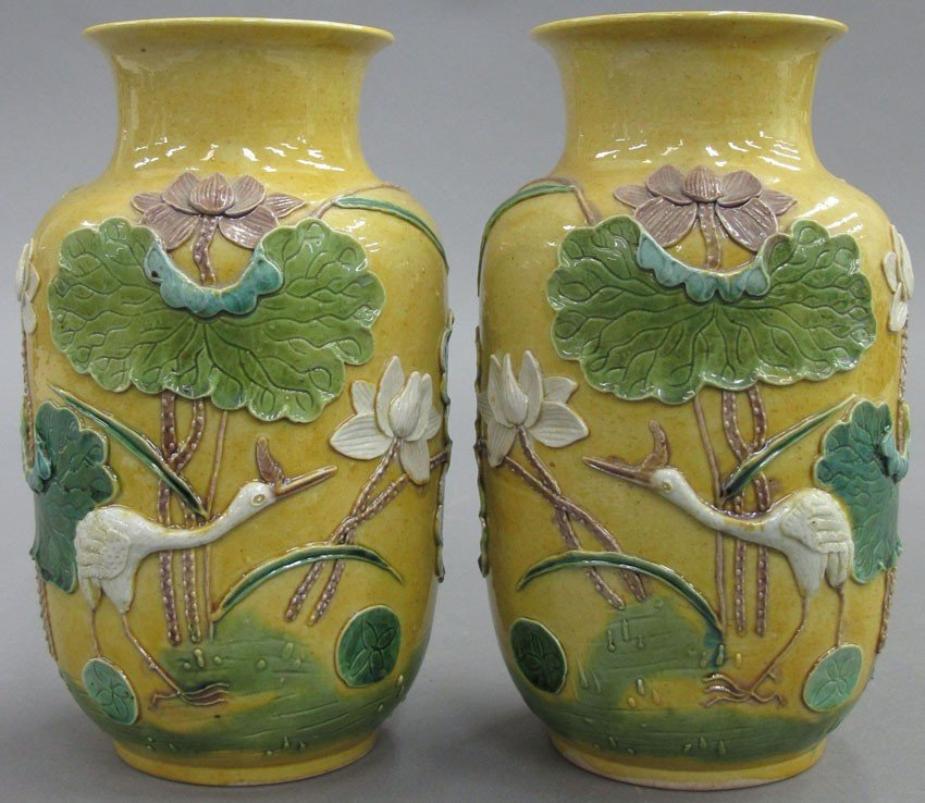 PAIR OF CARVED CHINESE PORCELAIN VASES circa la
