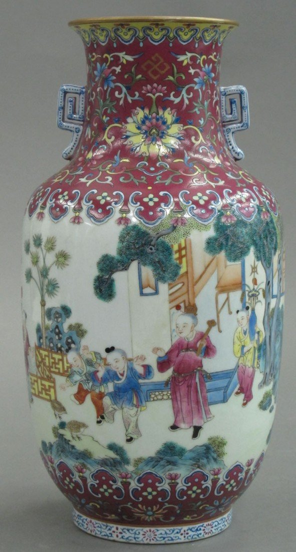 FAMILLE ROSE ROULEAU VASE WITH JIANQING MARK he