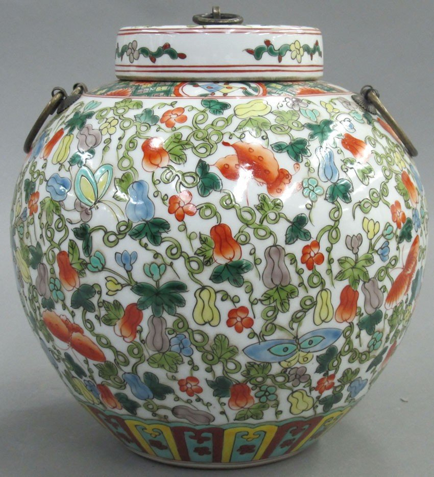 PAINTED PORCELAIN STORAGE JAR with lid height-