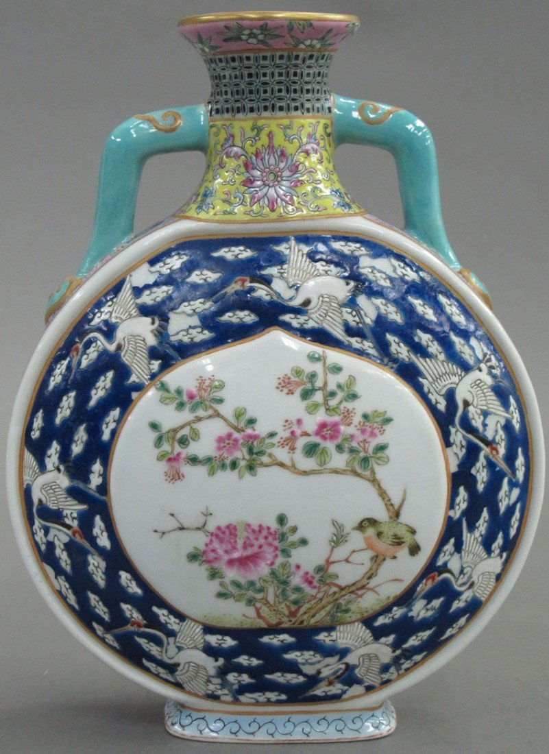 CHINESE PORCELAIN PILLOW STYLE VASE height- 9 1