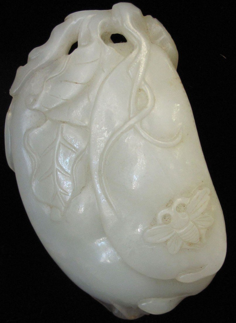 CHINESE WHITE JADE CARVING circa late 19th- ear