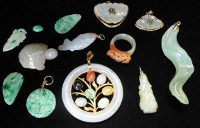 LOT OF JADE CARVINGS Including Stones, Pendants