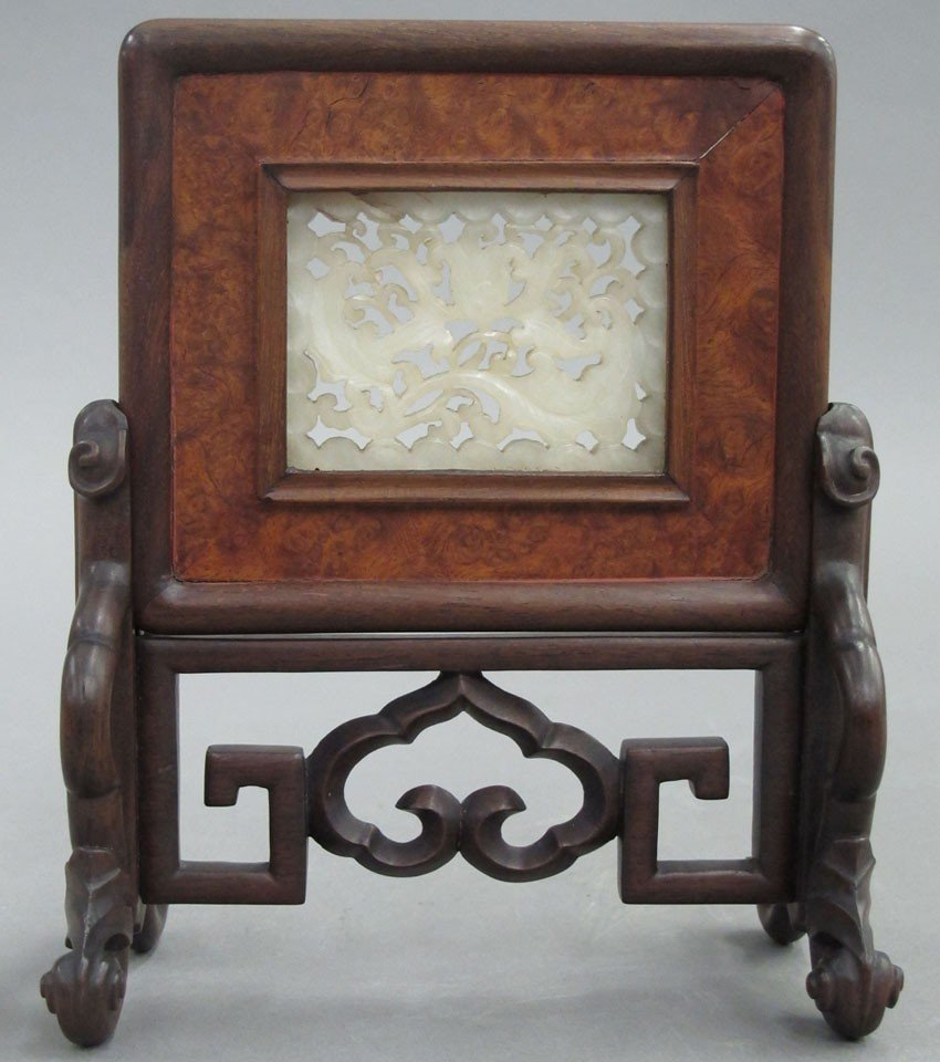 CHINESE WHITE JADE TABLE SCREEN sight of jade-
