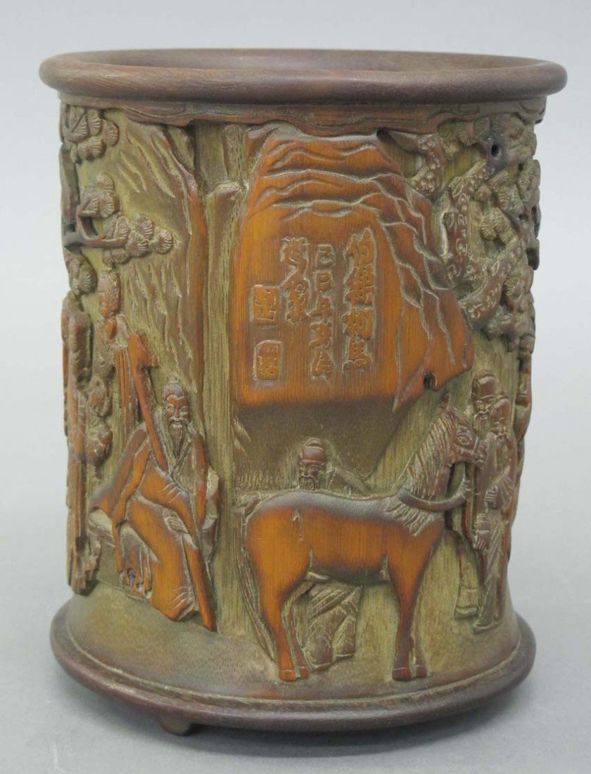 CHINESE CARVED BAMBOO BRUSH POT circa late 19th