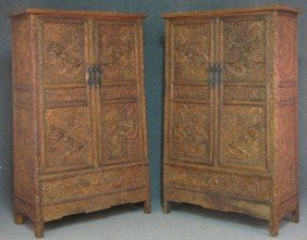 PAIR OF CHINESE CARVED PARLOR CABINETS With (5)