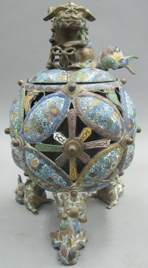 CLOISONNE INCENSE BURNER on tripod legs with Mi