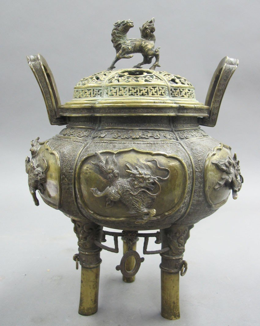ASIAN METAL INCENSE BURNER on tripod legs heigh