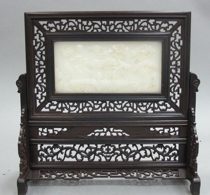 JADE INSET TABLE SCREEN with rosewood frame hei