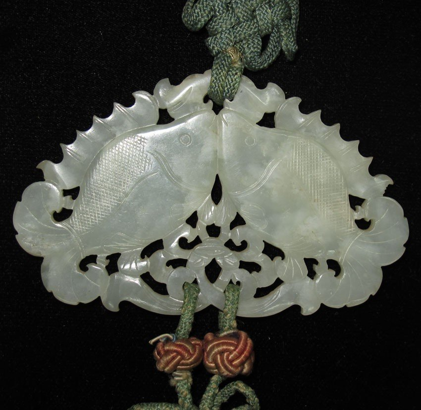 CHINESE CARVED JADE PENDANT with silk tapestry