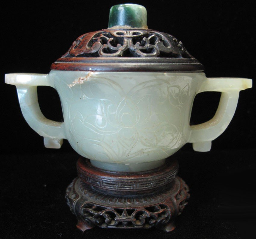 EARLY CARVED JADE BOWL with pierced lid width-