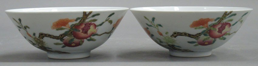 PAIR OF FAMILLE ROSE BOWLS WITH YONGZHENG MARK