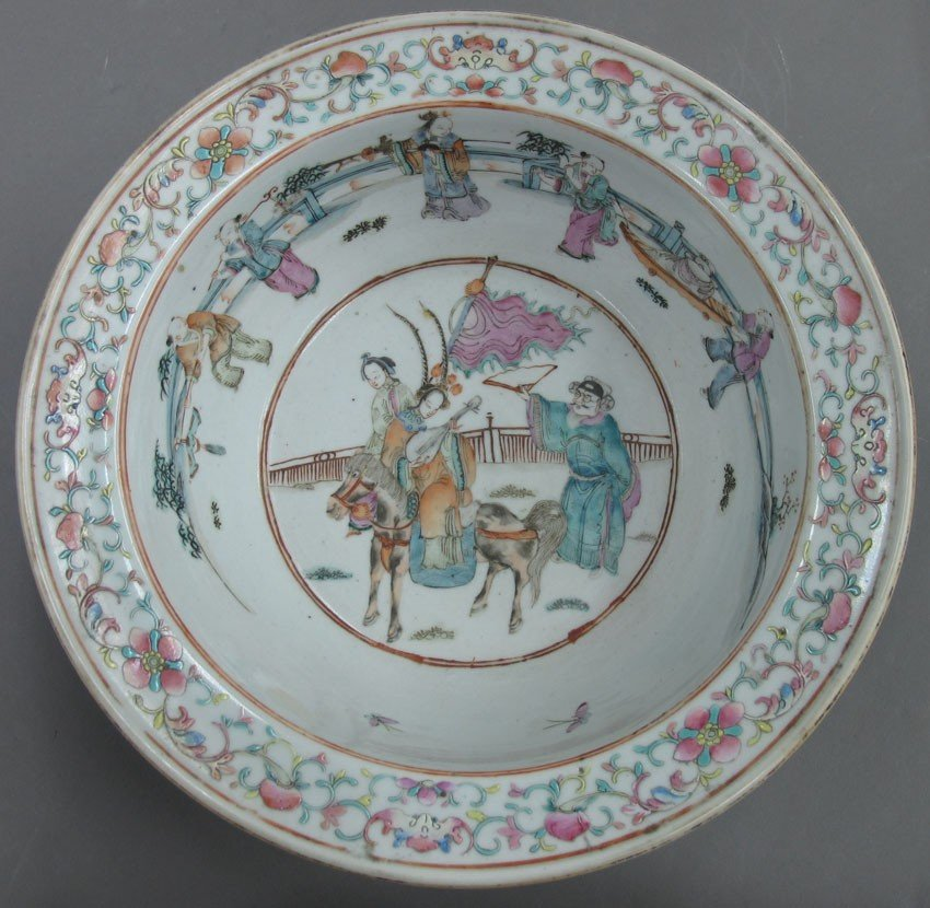 LOT OF (2) CHINESE PORCELAIN PAINTED BOWLS circ