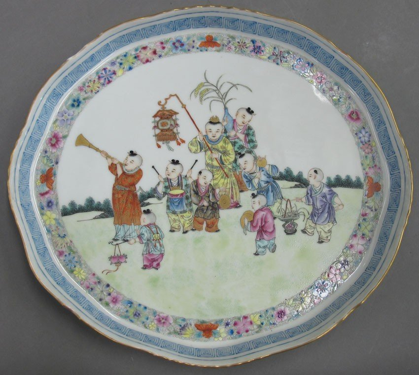 CHINESE PORCELAIN PAINTED PLAQUE OF CHILDREN ci