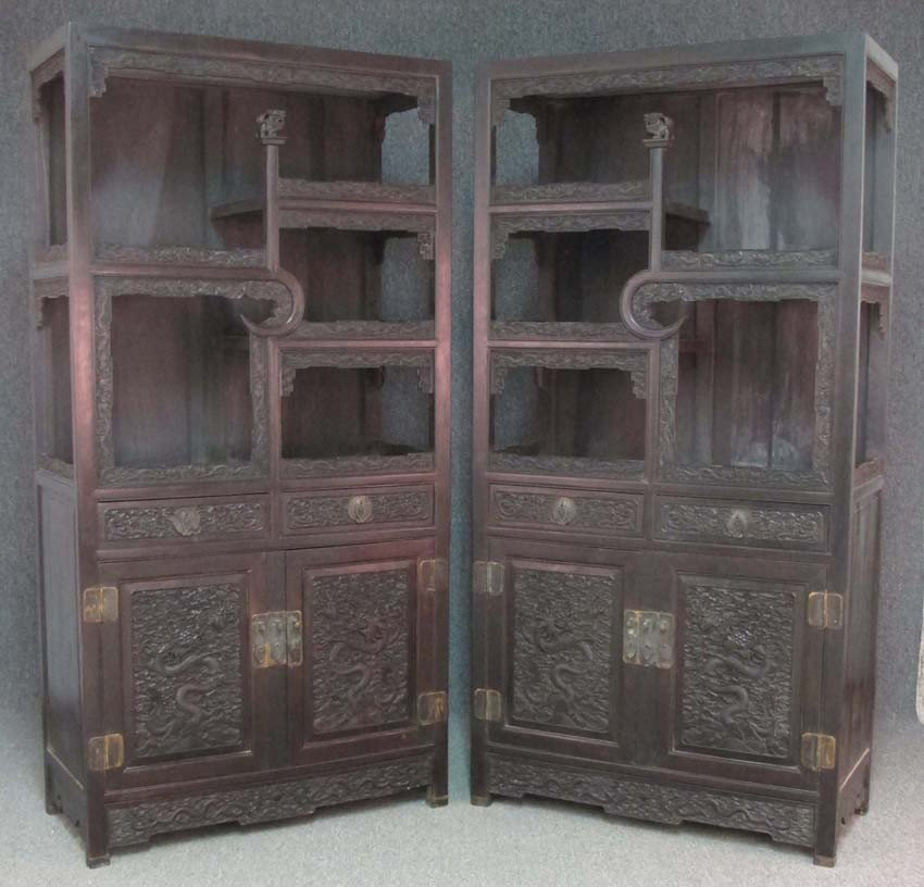 PAIR OF CHINESE CARVED DISPLAY CABINETS with dr