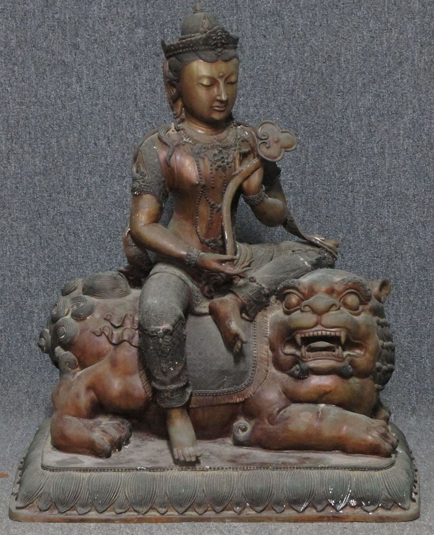"""CHINESE BRONZE FIGURE ON LION height- 40"""""""