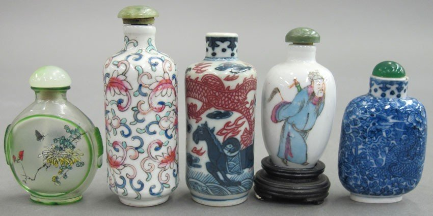 LOT OF (5) CHINESE SNUFF BOTTLES one is glass h