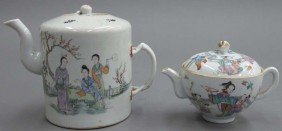LOT OF (2) CHINESE PAINTED PORCELAIN TEAPOTS Wi