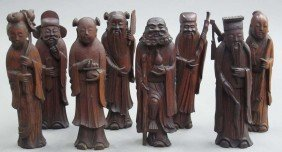 LOT OF (8) CARVED WOOD CHINESE FIGURES Circa Ea