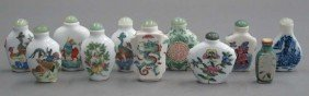 LOT OF (11) PORCELAIN CHINESE SNUFF BOTTLES Hei