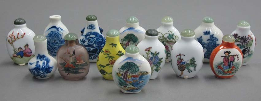 (14) CHINESE SNUFF BOTTLES (13) porcelain and (